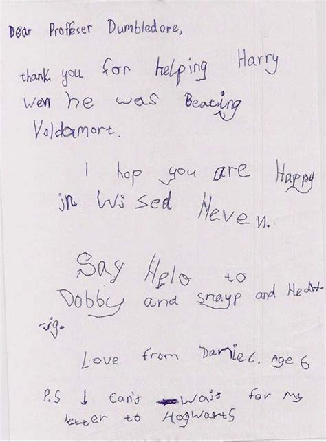 sweet up letters the letter this kid wrote to professor dumbledore