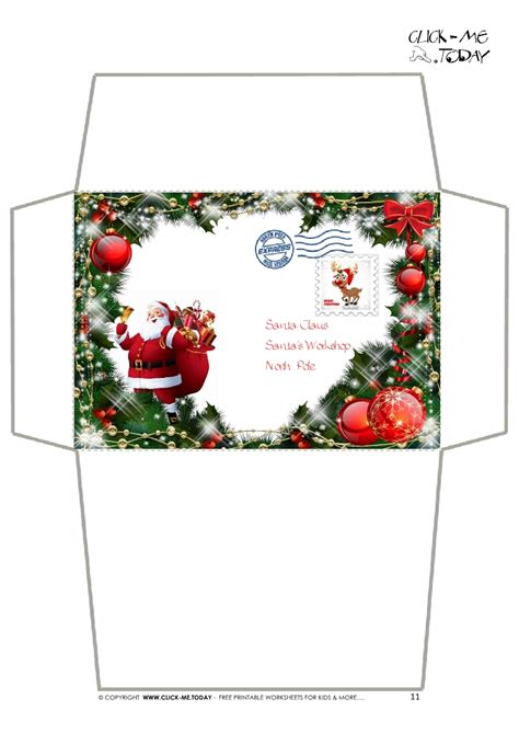 printable christmas envelope designs craft envelope letter to santa claus christmas