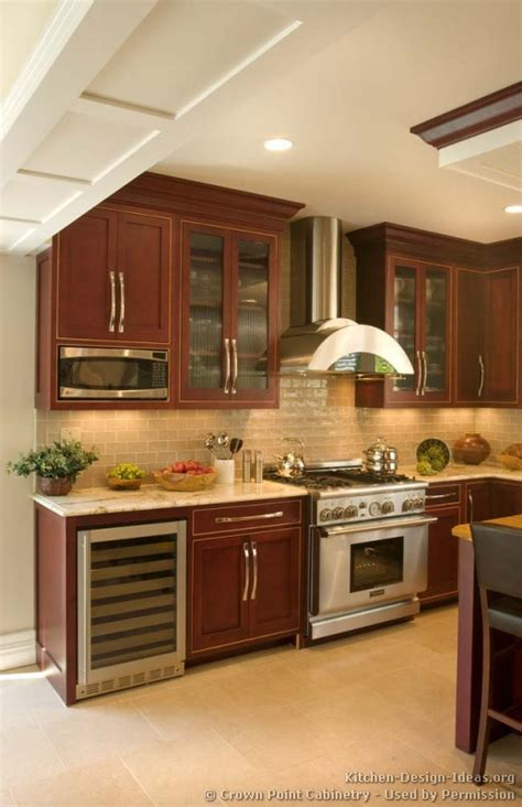 pictures of kitchens traditional wood cherry color kitchen 47
