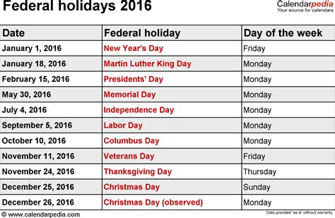 2016 calendar with holidays usa federal holidays 2016
