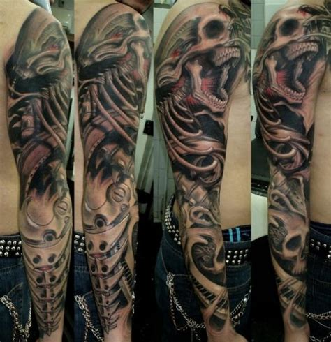 search results for black and grey sleeve tattoos skulls