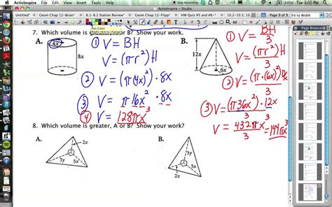 Volume Of Prisms Pyramids Cylinders And Cones Worksheet Answer Key