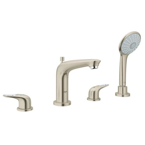 grohe bathtub faucet shop grohe eurostyle brushed nickel 2 handle deck mount