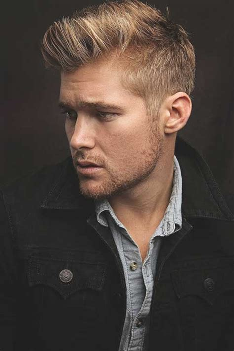 a short blonde hairstyle from the 2015 mens collection volume on top shorter sides but not too short titus