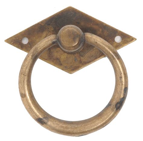 2 inch vintage 1900 circa brass ring pull distressed