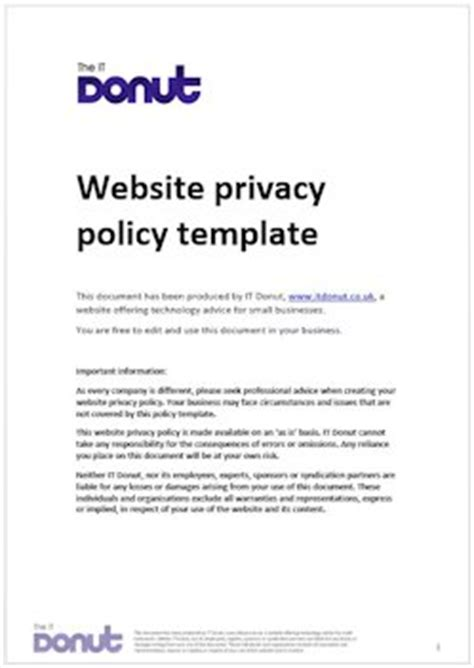 privacy policy cookies template sle website privacy policy template it donut 2017