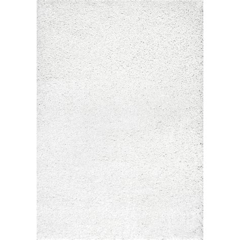 White Rug by Nuloom Shag White 5 Ft 3 In X 8 Ft Area Rug Shg1 508 The Home Depot