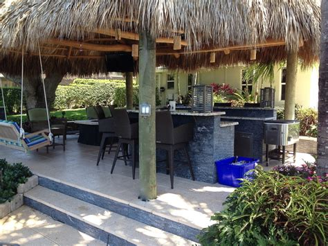 Tiki Hut Outdoor Kitchen And Landscaping Tropical Backyard Tiki Hut