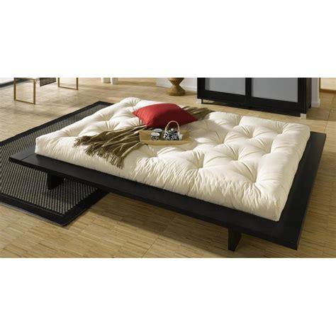 lit futon 200x200 lits chambre literie cadre de lit japonais japan noir