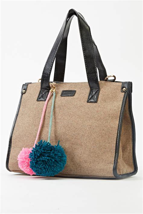 pomeranian purse contrasted pom pom handbag beige black just 163 5