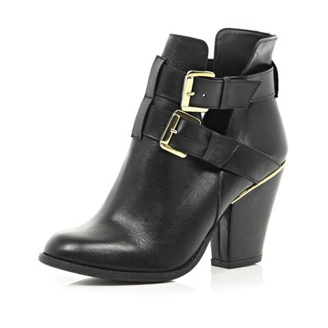 river island black cut out cuban heel ankle boots in black