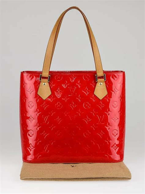 louis vuitton red monogram vernis houston tote bag yoogi