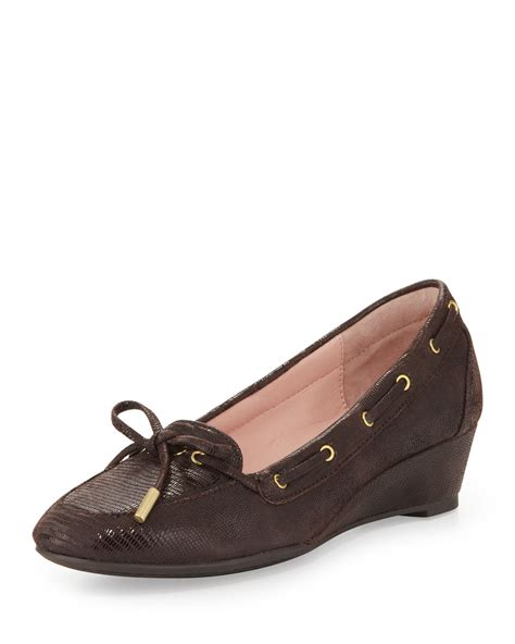 loafer wedges pinchas lizardprint wedge loafer chocolate in