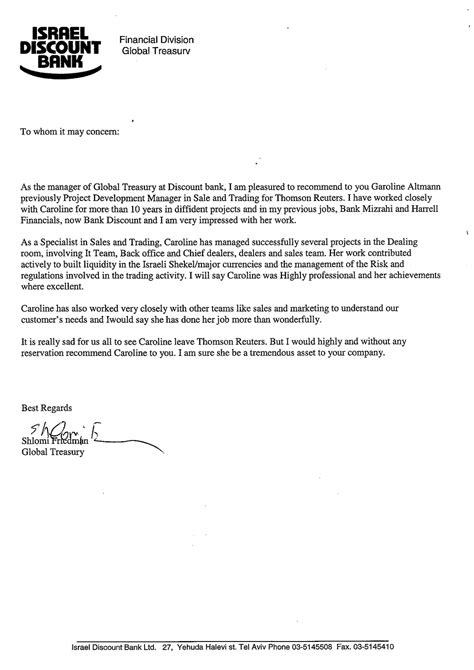 Letter Of Reference Business Development caroline altmann financial sales business development