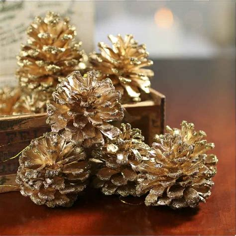 gold glitter tipped pinecones vase and bowl