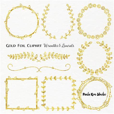 Bling Gold Pita gold foil laurel and wreath frame clipart wedding clip