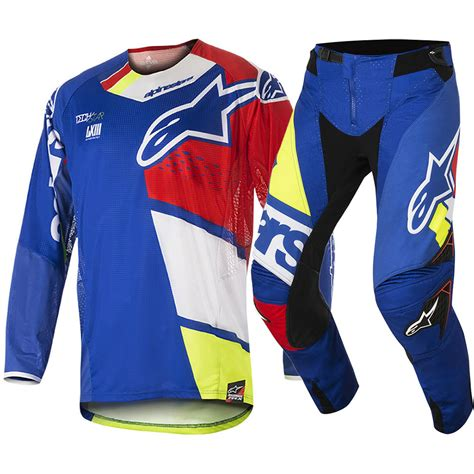 blue motocross gear alpinestars new mx 2018 techstar factory blue red adults