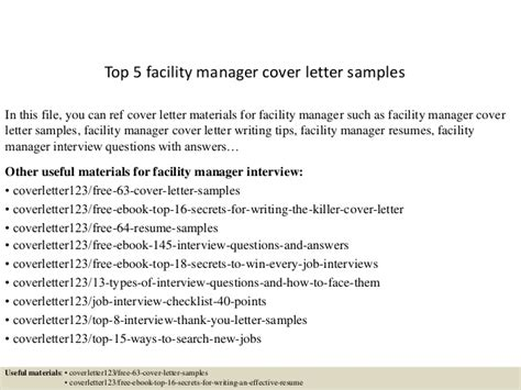 Facilities Manager Cover Letter Top 5 Facility Manager Cover Letter Sles