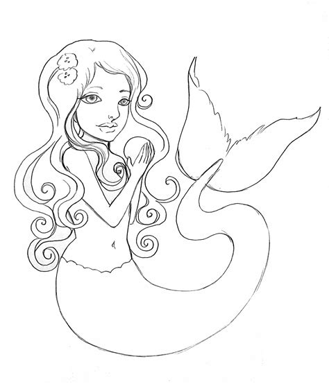 mermaid template best photos of mermaid outline template mermaid