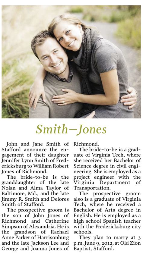 Newspaper Engagement Announcement Template by How To Write A Wedding Announcement For The Newspaper