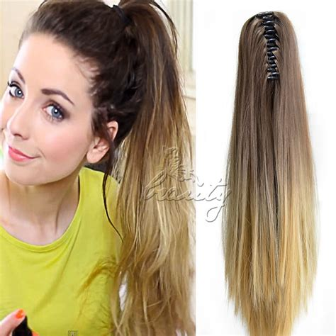 ombre african american ponytails pieces 20 quot women pony tail ponytail claw on hair extensions ombre