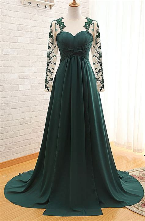 Sheer Dark Green Long Sleeves Sweetheart Prom Gowns 2017 Empire Ruffle Evening Dresses Evening