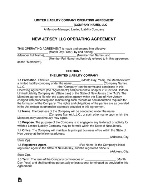 New Jersey Multi Member Llc Operating Agreement Form Eforms Free Fillable Forms Llc Articles Of Organization Nj Template