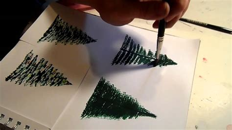 how to paint a pine tree or christmas tree youtube