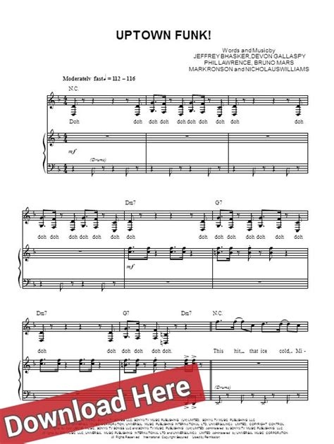 drum tutorial for uptown funk bruno mars uptown funk sheet music piano notes feat