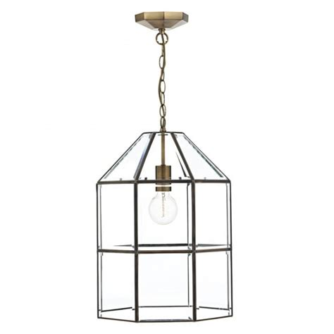 Pendant Light Fittings Uk Modern Lantern Glass Panel Pendant Light Fitting In Antique Brass