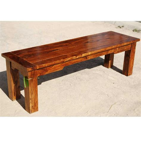 solid wood rustic backless bench dining patio outdoor