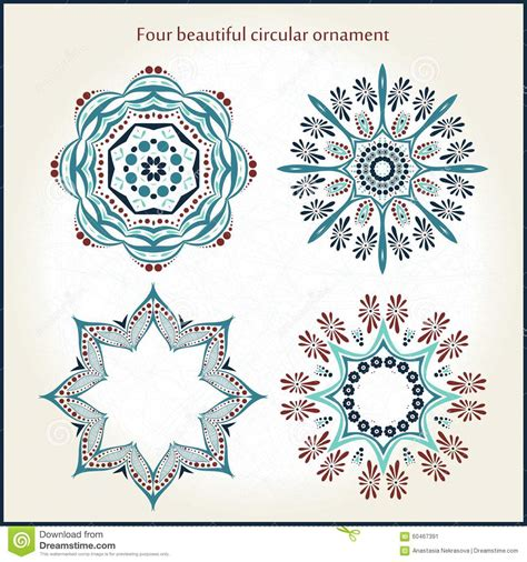 Four Beautiful Circular Ornament Mandala Vintage Ottoman Motifs