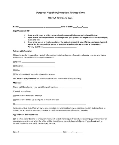 hipaa release forms sle hipaa release form 10 free documents in pdf