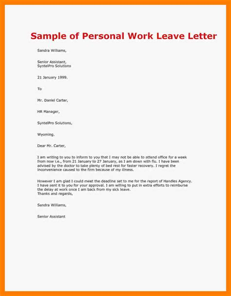 Work Appeal Letter Template leave of absence letter template images