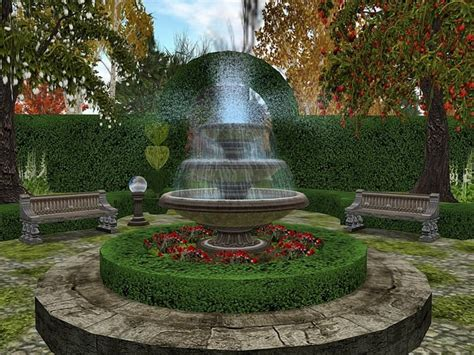 Garden With A Fountain Landscaping Gardening Ideas Backyard Fountains Ideas