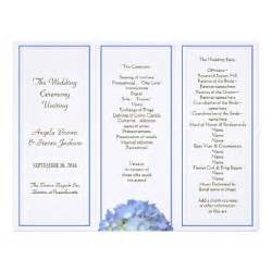 trifold wedding program tri fold blue hydrangea wedding program letterhead zazzle