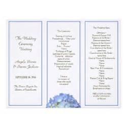 trifold wedding programs tri fold blue hydrangea wedding program letterhead zazzle