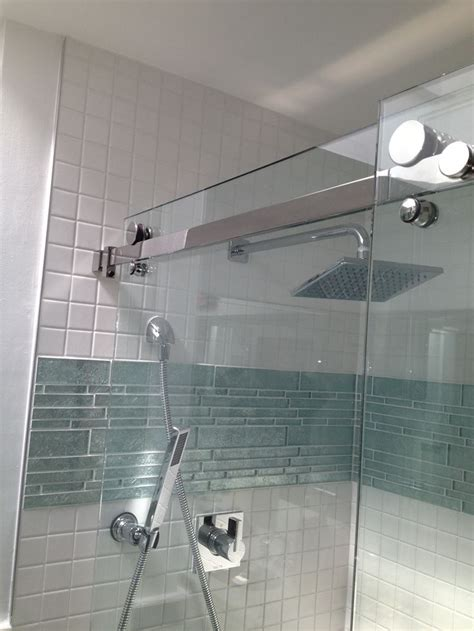 Glass Bathroom Tiles Shower Accent Band Just Above Center And Is That A Shower Version Of A Barn Door Ideas For Master