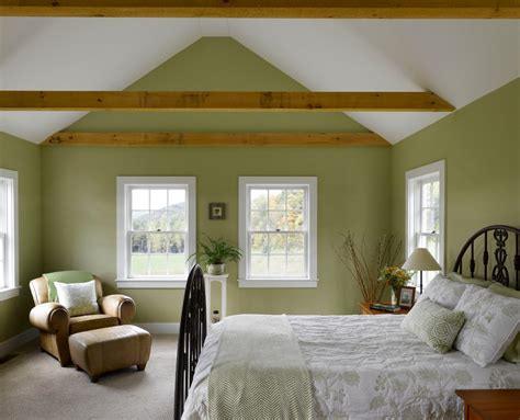bedrooms with green walls green painted walls bedroom farmhouse with vaulted ceiling