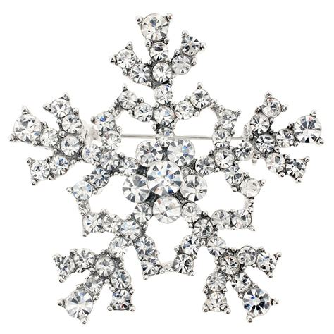 silver christmas snowflake crystal brooch pin fantasyard
