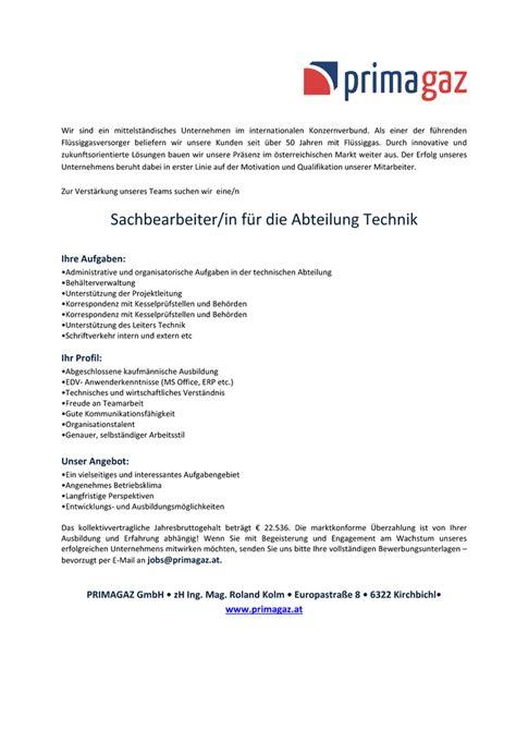 Bewerbung Fur Ausbildung Als Gas Waber Installateur Sachbearbeiter In F 252 R Die Abteilung Technik Kirchbichl