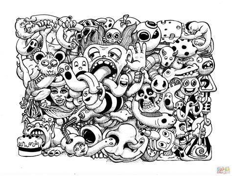 doodle art by pierre fihue coloring page free printable