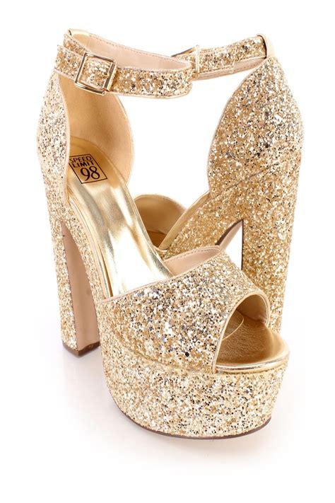 Golden Cross Chunky Heels Import 2 chunky gold heels fs heel