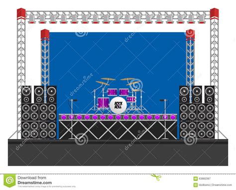 Drum Animal Concert big concert stage with speakers and drums stock vector