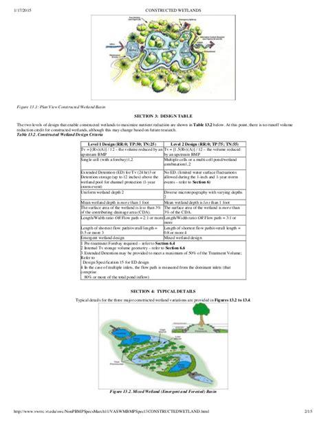 design criteria of a constructed wetlands virginia constructed wetlands design spec