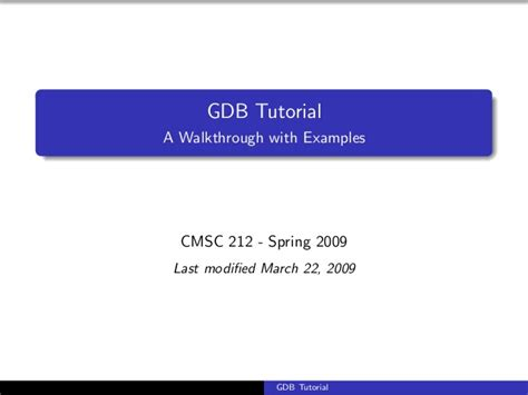 wordpress tutorial handouts gdb tutorial handout