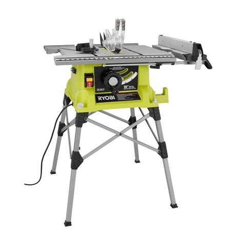 portable table saw bench ryobi 10 in portable table saw with quick stand rts21g