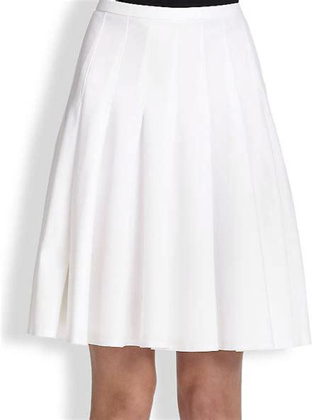 white cotton pleated self yoke skirt elizabeth s custom
