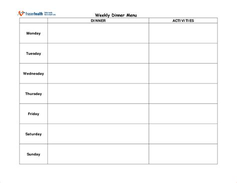 Template Templates 5 weekly dinner menu template procedure template sle