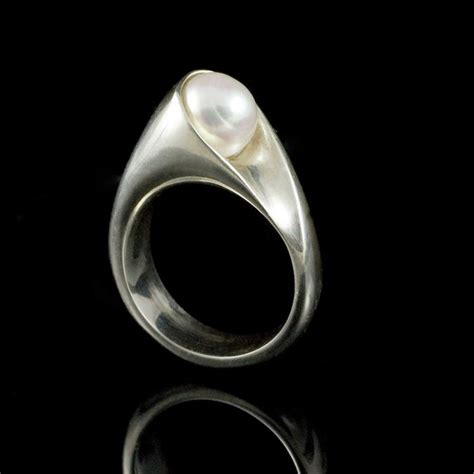 wrapped white pearl sterling silver ring modern pearl